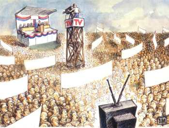 Romania cartoon, election campaign live TV