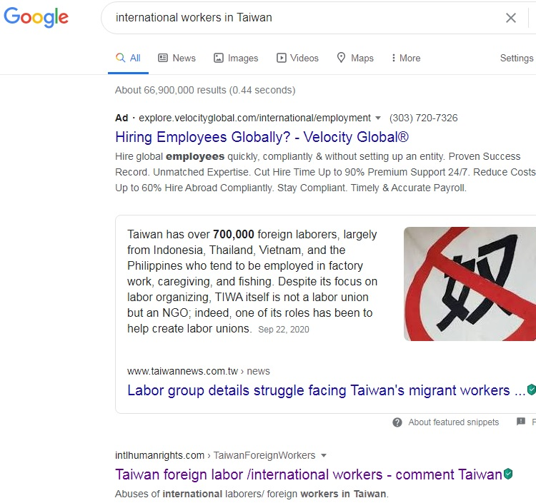 "No.1 ""international workers in Taiwan"" on Google, 1-29-2021"